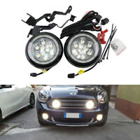 Mini Cooper Front Bumper Led Daytime Running Rally Lights W/ Halo Rings Assembly
