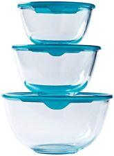 More details for pyrex bowl set 3 pcs. cook & store glass 0.5l,1.0l, 2.0l  mixing bowl with lid