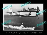 OLD POSTCARD SIZE PHOTO AUSTRALIAN NAVY SEA FURIES PLANES & HMAS SYDNEY c1950