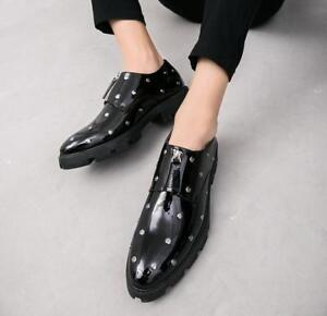 Men Rivets Formal Patent Leather Shoes Bar Nightclub Zip Vogue Zip Shoes Loafers