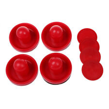 4Pcs Air Hockey Table Goalies with 4pcs Puck Felt Pusher Mallet Grip Color Re FP