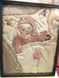 ANTIQUE FOLK ART FRAMED BABY PICTURE SATIN EMBROIDERED BLANKET KNIT SWEATER VTG