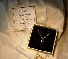 16th Birthday Gift  Jewellery Sterling silver heart pendant Personalized box