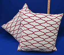 2 Throw Pillows Square Red & White Geometric Moroccan Pattern Sofa Bed Decor
