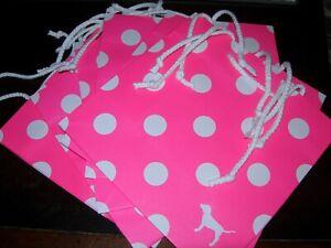 Victoria's Secret PINK Polka Dot Paper Gift Shopping Favor Bags x 6 Brand New