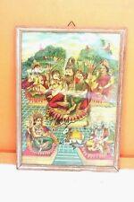 Old Vintage Ravi Varma Press Publication Print Shiva Family with Frame F-29