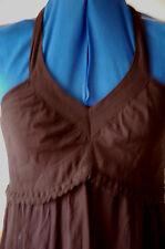 BNWT Black Sz 8 Halter neck Lace Trim Bust Aline Crepe Maxi Dress tier Skirt