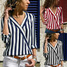 Women's V-neck Long Sleeve Tops Blouse Ladies OL Striped Shirts Chiffon Autumn