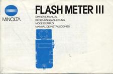 Minolta Flash Meter III  Instruction Manual - English Edition
