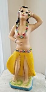 Fantastic 1940 Large Carnival Chalkware Prize Topless Hula Dancer w/ Glitter