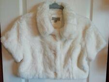 Alibi Ivory Faux Fur Lined Shrug Cover Up Coat Jacket size 16