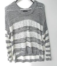 .Buckle MINE L Black/White Marled Knit Striped Semi-Sheer Hi-Lo Sweater Top r430
