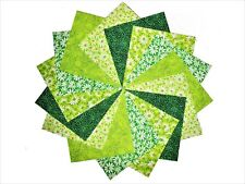 """50 4"""" Quilting Fabric Squares Four Leaf Clover/Shades of Green BUY IT NOW !!"""