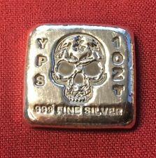 "1oz Hand Poured 999 Silver Bullion Bar ""Skull"" by YPS - Yeager's Poured Silver"