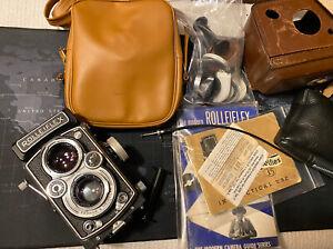 Working VTG Rolleiflex 3.5 Tessar Medium Format Camera With Accessories Minty