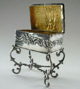 Victorian 1895 Solid Silver Hallmarked Figural Table Trinket Box / Gilt Lining