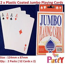 2 Deck Plastic Coated Jumbo Playing Cards Large Decks Premium  Card Games Cheap