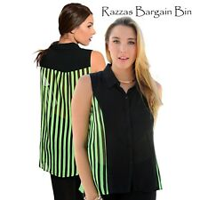 New Ladies Green & Black Striped Two Tone Top Plus Size 14/1XL (9620)IW