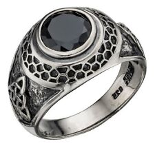 Elements Sterling Silver Heavy-Oxidised Pagan Triquetra Black CZ College Ring