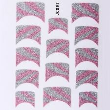 Nail Art Decal Stickers Glitter Nail Tips Pink Silver Lines JC097