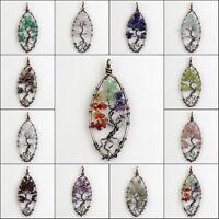 Natural Amethyst Peridot Lapis Lazuli Chip Beads Tree of Life Olivary Pendant