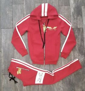 ROBIN'S JEAN BIKER STYLE HOODED TRACK SUIT W/JOGGER IN  RED AND WHITE CONTRAST