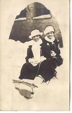 Winter Toboggan Sledding Women Fashion Hats Coats Vtg 1910s Real Photo Postcard