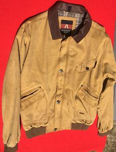Kakadu Traders AUSTRALIA 5B21 Double Bay Bomber Leather Trim Canvas Jacket XL