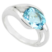 4.82cts Natural Blue Topaz 925 Sterling Silver Solitaire Ring Size 6.5 P62386