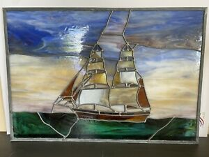 """Stained glass panel-Nautical-Ship-26 1/4"""" X 18 3/4""""-Real Leaded Glass"""