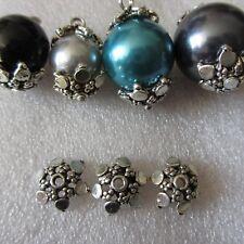 10 un. Tapas de perlas de plata tibetana Collares termina joyería artesanal 01826 12 Mm x 6 mm