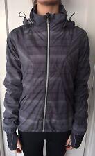 Lululemon Size 8 Run Hustle Jacket Gray Plaid Ruffle Downtime Studio EUC Coat