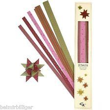 Fröbelsterne Sternstreifen Papierstreifen Faltstreifen für 15 Sterne rosa/grün