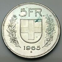 1965B Switzerland 5 FR Five Francs 835 Silver Uncirculated Coin KM 40 C733