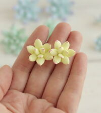Succulent yellow EARRINGS HANDCRAFTED Fashion polymer clay Party Stud HANDMADE