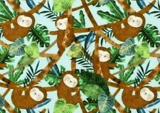 Fat Quarter Fabric Sloths Mammal Hanging From Trees 3 Toed Sloth Cotton Fq