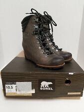 Sorel Conquest Waterproof Wedge Boot Leather Quarry Grey Black Size 10 NEW