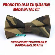 PAPILLON MIMETICO UOMO CAMOUFLAGE VERDE MILITARE FATTO A MANO IN ITALIA !!