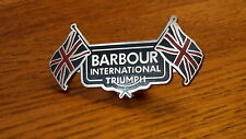 Barbour international triumph badge for all barbour waxed motorcycle jackets