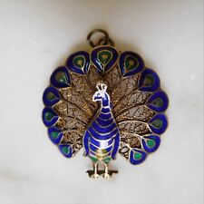 Beautiful Detailed Enamel PEACOCK Silver Filigree Pendant with Gold Wash