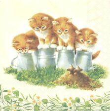 3 Serviettes en papier Cocktail Quatre Chatons Paper Napkins Four Kitten