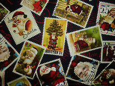 CLEARANCE FQ OLD FASHIONED CHRISTMAS STAMPS PICTURES SANTA HOLLY CHILDREN FABRIC