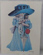"""Anne Hershenburgh Litho Little Girl Dress Up Blue Kitten Signed 12 1/2"""" x 9 1/2"""""""