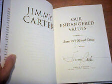 JIMMY CARTER  OUR ENDANGERED VALUES 2005  Hand SIGNED FIRST EDITION 1st pr  HCDJ