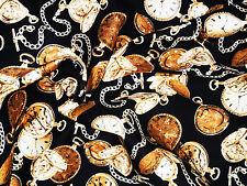 1M STEAMPUNK Pocketwatch Clocks Fabric COTTON Patchwork Crafts Quilting Sewing