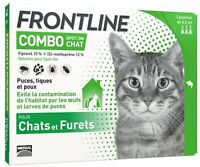 FRONTLINE COMBO CHAT Anti-puces et Anti-tiques Pour Chat x 3 pipettes NEUF FR