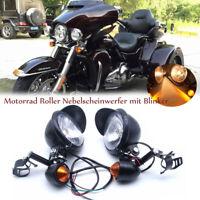 Motorrad Roller Nebelscheinwerfer mit Blinker Schwarz für Harley Honda Suzuki DE