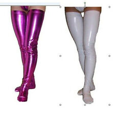 Wholesale -2Pair Purple/white Metallic Lycra zentai spandex long stockings S-XXL