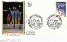 1986**ENVELOPPE SOIE**FDC 1°JOUR!!**CHAMPIONNAT-VOLLEY-BALL**TIMBRE Y/T 2420