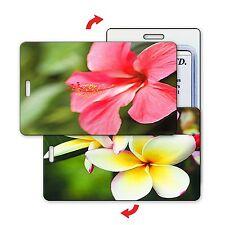 Flip Lenticular Luggage Bag Travel Tag Hibiscus Plumeria Flowers LT01-258
